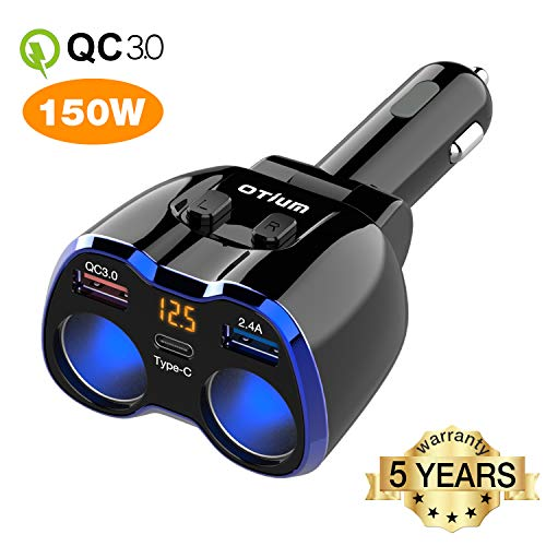 Car Charger, Otium 150W 2-Socket Cigarette Lighter Splitter QC 3.0 Dual USB Ports 1 USB C Fast Car Adapter with Separate Switch LED Voltmeter Replaceable 15A Fuse Compatible GPS/Dash Cam/iPhone11/iPad
