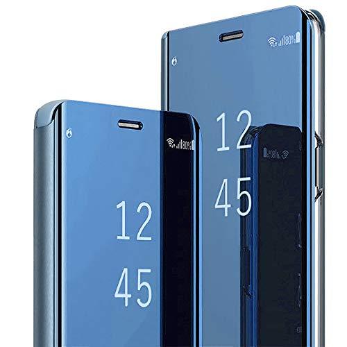 2Buyshop Compatible mit Hülle iPhone XR, iPhone XR Schutzhülle PU-Leder Flip Spiegel Handyhülle iPhone XR 360-Grad-Schutz Tasche mit Standfunktion Ledertasche handytasche (Apple iPhone XR 6,1'', Blau)