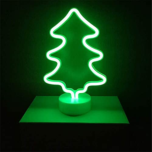 YSJJXTB Luz Nocturna Flamingo LED Neón Luz de Coco Cactus Unicornio Forma Lámpara Soporte Colorido Casa Decoración Decoración Batería de Navidad Noche Luz (Emitting Color : Christmas Tree)