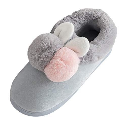 Damen Hausschuhe Lofer Winter Filzpantoffeln Home Hausschlappen Rutschfester Filzschuhe Innenaufnahme Zimmer Fussboden Wärme Schuhe, Grau, 35 EU