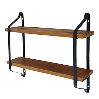 Easeurlife Rustic Floating Wall Shelf 24 Inch Industrial Wall Mount Shelves Solid Wood 2 Tier for Living Room/Bedroom/Kitchen/Office (Black)