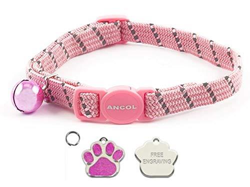 ANCOL - Collar elástico reflectante para gato con diseño de huellas de gato, color rosa