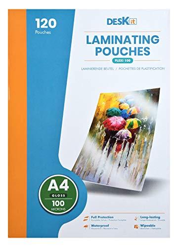 Laminierfolien DIN A4, 100 Micron,120 Stück, Laminiertaschen stabiler Schutz in Premium Qualität – Folien zum Laminieren 100 mic für Heiß-Laminiergeräte