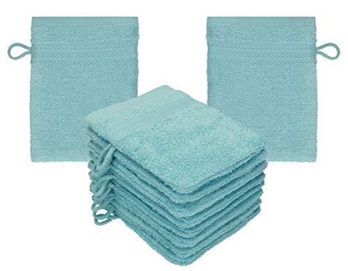 Betz 10 Stück Waschhandschuhe Set Waschlappen Waschhandschuh Frottee Größe 16x21 cm Kordelaufhänger 100% Baumwolle Premium (Ocean)