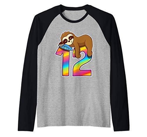 Regalos de cumpleaños para niñas niños de 12 años Perezoso Camiseta Manga Raglan