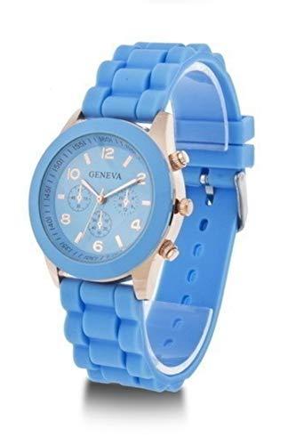 CursOnline® - Reloj de Pulsera Geneva Original para Hombre y Mujer, Elegante y cómodo, Correa de Acero y Caucho Suave de Color Azul.