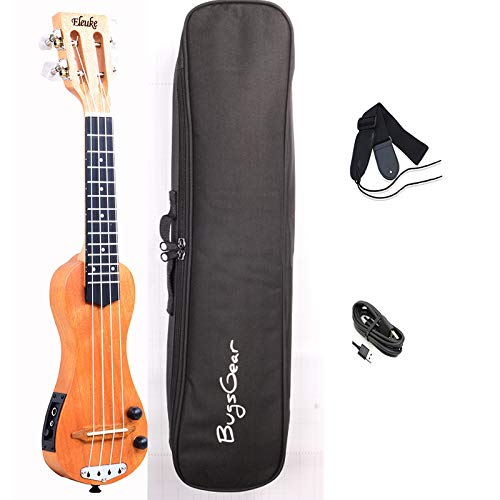 Portable travelling concert electric solidbody ukulele with bluetooth function enables enjoying practicing silently without disturbing your neighbor (Soprano)