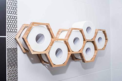 Soporte de papel higiénico, estante de baño, decoración de baño, estante de papel higiénico, soporte de madera para papel higiénico panal (transparente)