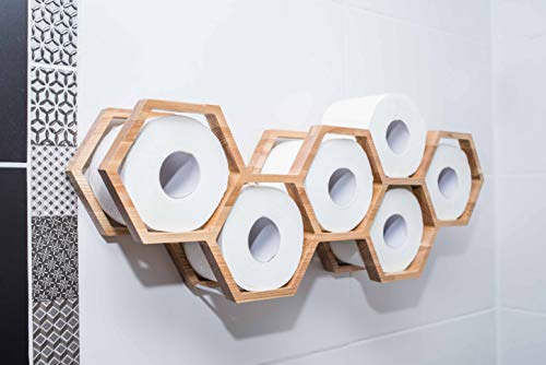 Portarrollos de papel higiénico, estante de baño, decoración de baño, estante de papel higiénico, soporte de madera para papel higiénico, panal de abe