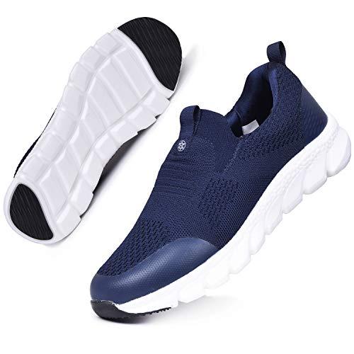 Hsyooes Damen Walkingschuhe Slip On Sneakers Leichte Freizeitschuhe Laufschuhe Atmungsaktiv Turnschuhe Bequem Sportschuhe Gym Outdoor Blau D 40.5EU=Etikettengröße:41