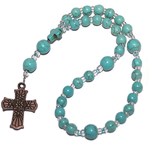 Prayer Beads of Turquoise Howlite, Copper Southwestern Cross