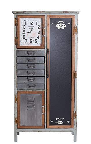 Schubladenschrank mit Uhr Loft Stil Hochkommode Fabrik Schrank Schuhschrank lof023 Palazzo Exklusiv