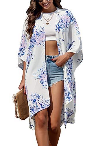 Mujeres Kimono Cardigan Verano Gasa Manga Corta Blusa Larga Tops Casual Ropa de Playa Pareos Flores Cubiertas de Playa (Talla única, Blanco)