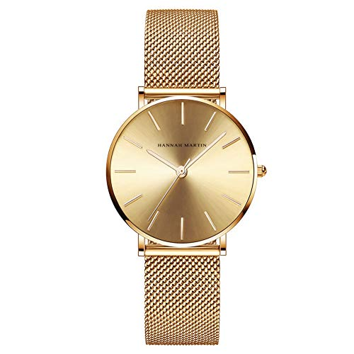 Hannah Martin Relojes Mujer De Cuarzo Minimalista Impermeable Reloj De Pulsera para Mujer con Correa De Malla con Brazalete (CC36-WJJ)