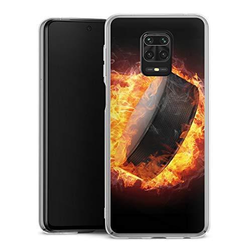 DeinDesign Hard Case kompatibel mit Xiaomi Redmi Note 9 Pro Schutzhülle transparent Smartphone Backcover Eishockey Feuer