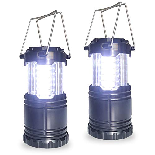 Gioyonil LED Camping Lantern Lamp, 2 Pack Portable Battery Powered Collapsible Tent Lights Pop Up Flashlight Survival Kits for Hurricane Storm, Home Emergency, Power Outage, Hiking