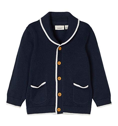 NAME IT Nbmdabso Ls Knit Card Veste en tricot pour fille - Bleu - 86