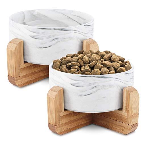 KYONANO 2 ciotole per gatti e cani con supporto in bambù, 850 ml, ciotola per gatti rialzata con supporto, set da ciotola per gatti in ceramica per cani e gatti (marmo marmo )