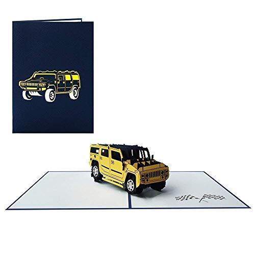 Pop Up Karte 3D Offroad Auto Geburtstagskarte Fahrzeug Glückwunschkarte Geschenkkarte Gutschein Führerschein (Geländewagen 011)