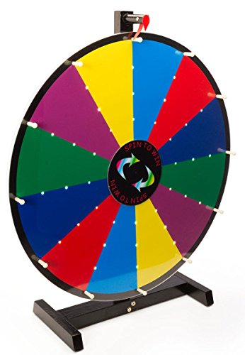 Displays2go 24' Prize Wheel, 12 Slots, 6 Colors, Write-On with Dry Erase, Illuminated, Tabletop (Black Metal Frame)
