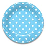 Hippity Hop White and Light Blue Polka Dot Design Tableware Package, Pack of 10 Supplies Combo, Paper Plates, Paper Cups, Paper Napkins, Party Supplies Tableware Disposables