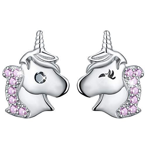 Esberry - Pendientes de tuerca de plata de ley 925 chapados en oro de 18 quilates con diseño de unicornio, circonita cúbica, asimétricos, hipoalergénicos, para niñas y mujeres rosa