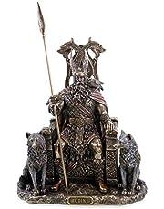 Veronese 708-7392 Odin Duitse godvader op troon met wolven Geri Freki figuur