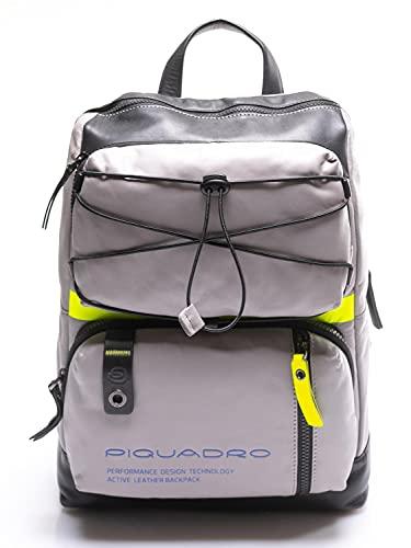 PIQUADRO Zaino pelle grigio e giallo fluo, porta Pc 14' e ipad, Downtown CA4862DT/GR