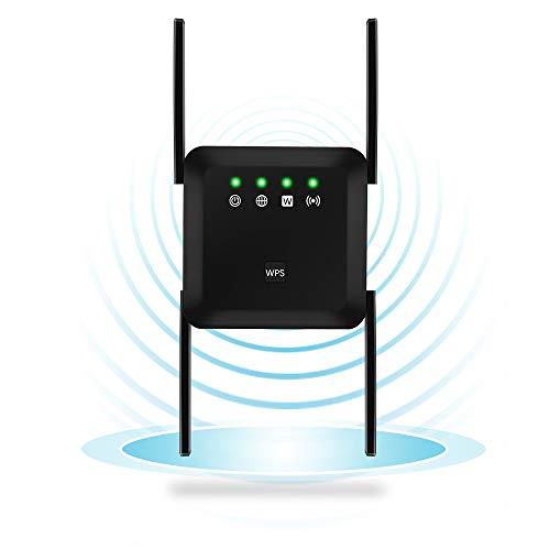 Ripetitore WiFi Extender WiFi Range 1200Mbps DualBand (5G/867Mbps+2.4G/300Mbps), Ripetitore WiFi Wireless, 4 Antenne Copertura Completa a 360 ° con modalità AP/Ripetitore - Nero