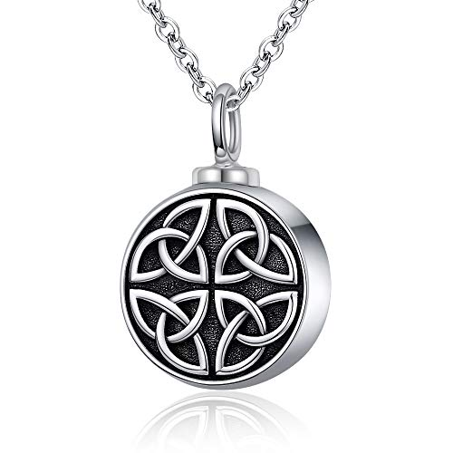 Sterling-Silver Cremation Necklace for Ashes - Celtic Knot Necklace Trinity Irish Round Pendant Cremation Urn Necklaces for Human Ashes Women