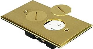 Orbit FLB-R1G-C-BR Electric Floor Box, Round Plug Type Cover Only Duplex - 1-Gang - Brass