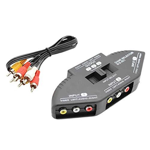 SeniorMar Divisor Compuesto de Caja selectora de Interruptor RCA AV de Audio y vídeo de 3 vías con 3-RCA para Todos los Dispositivos AV estándar
