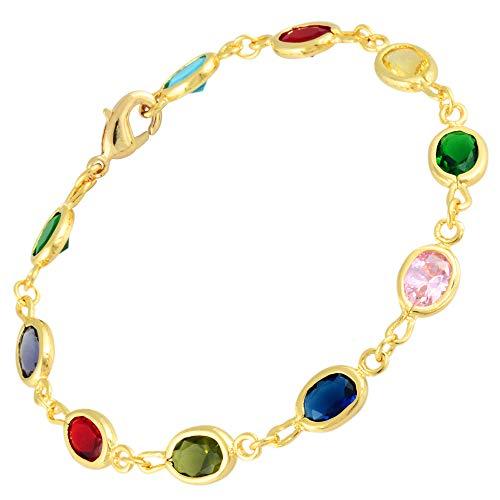 RIVA Tennis Armband [18cm/7inch] mit Ovalschliff Edelstein Zirkonia CZ [Mehrfarbig] in 18K Gelbgold Vergoldet, Einfache Moderne Eleganz