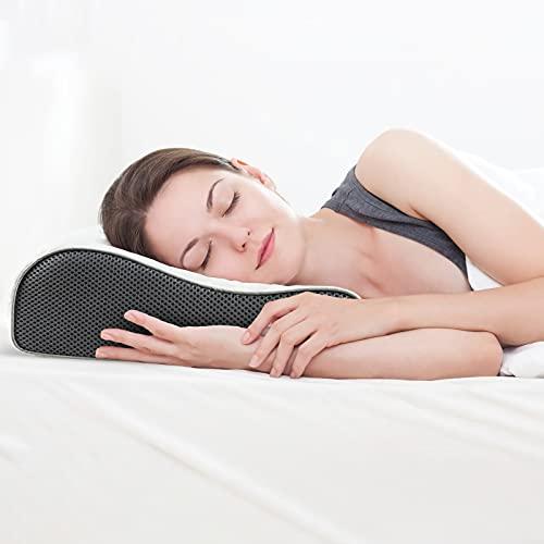 Feagar Almohada Cervical para Dormir -Almohada Viscoelástica para Cuello, Almohadas Arca para Apoyo Cervical para Personas Que Duermen de Lado y de Espaldas (Grande)