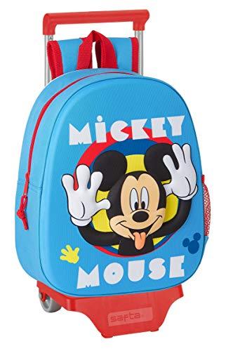 safta Mochila con Diseño 3D y Carro 705 de Mickey Mouse Clubhouse, 270x100x320mm, Azul Claro, M (M020H)
