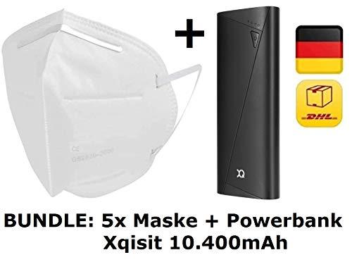 5X DECADE Atemschutz Maske + Powerbank - Mund und und Nasenschutz Mundschutz Atemmaske mit verstellbarem Nasenclip & Vlies - Schutzmaske mit Filterleistung 95%