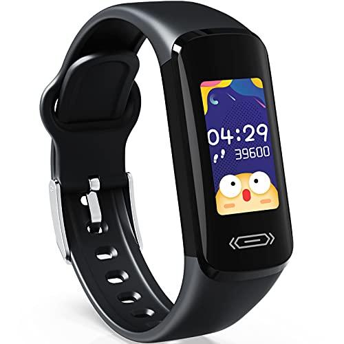 CareUAll Pulsera Actividad Inteligente Reloj Inteligente para Niños Niñas, IP68 Impermeable Deportivo Smartwatch con Podómetro Pulsómetros Monitor de Sueño Contador de Caloría-Negro