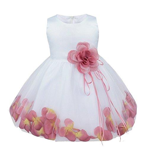 YiZYiF Baby Mädchen Kleid mit Blütenblätter Festlich Kleid Gr. 62-92 Hochzeit Kleinkind Verkleidung Weiß + Puce 86-92