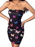 Geagodelia Vestido de Mujer Verano Bodycon sin Tirantes con Estampado de Mariposas Vestido Sexy sin Mangas de Hombro Descubierto Mini Vestido Ajustado de Playa Club Cóctel Informal(Negro, L)