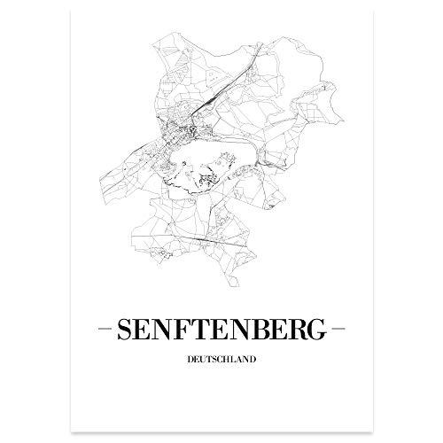 JUNIWORDS Stadtposter - Wähle Deine Stadt - Senftenberg - 30 x 40 cm Poster - Schrift A - Weiß