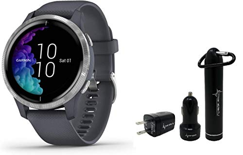 Garmin Venu GPS Smartwatch with AMOLED Display and Wearable4U Power Pack Bundle (Granite Blue/Silver)