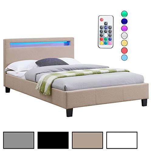 CARO-Möbel Polsterbett Einzelbett Doppelbett SATOKA in weiß, inklusive Lattenrost und LED Beleuchtung, Designbett mit Stoffbezug, 120 x 200 cm