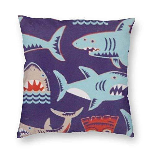 485 Boy's Kid's Blue Shark Printed Throw Pillow Case Elegante Tirar Almohada Cojin Exquisito Funda De Almohada para Cojín para Cumpleaños Sofá Familia 45X45Cm