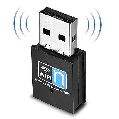 Yizhet Mini Scheda di Rete Wireless WLAN Mini WiFi Stick 300 Mbit IEEE 802.11b g n Wireless USB 2.0 Adattatore per Windows, Mac e Linux (300M)