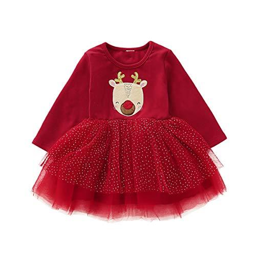 Borlai Baby Mädchen Weihnacht-Tutu Kleid, süßes langärmeliges Outfit, rotes Partykleid [Elch] 2-3 Jahre
