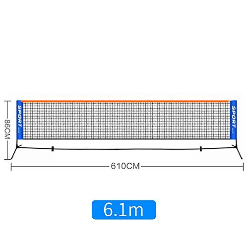 ZHONGYUAN Kinder-Tennisnetze Tragbare Kurznetze Outdoor-Netze Standard-Studentennetze Einfache Mobile Coaching-Ballnetzpfosten 5,1 Mio. [Netz + Regal] -6,1 Mio.
