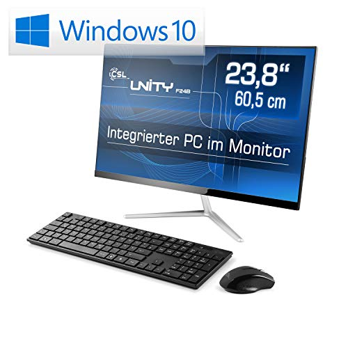 Lautloser All-in-One PC 60,5cm (23,8 Zoll) - CSL Unity F24B / 1000GB / Win10 Home - Silent-PC mit Intel QuadCore CPU 4X 2300MHz, 1000GB SSD, 4GB RAM, AC WLAN, USB 3.1