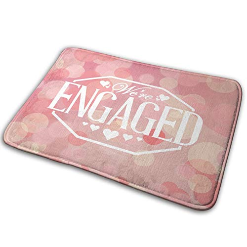 USOPHIA Microfiber Bath Mat Rug,Abstract Engagement Card Print,Bathroom Rugs Carpet Non Slip,29.5' X 17.5'