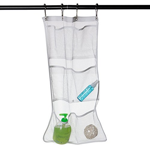 Cosmos 6- Pocket Mesh Bath Shower Organizer Hanger Holder with 4 Curtain Rings