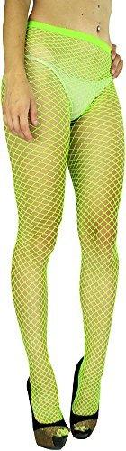 ToBeInStyle Women's Seamless Diamond Net Spandex Nylon Blend Pantyhose - Neon Green - One Size Regular